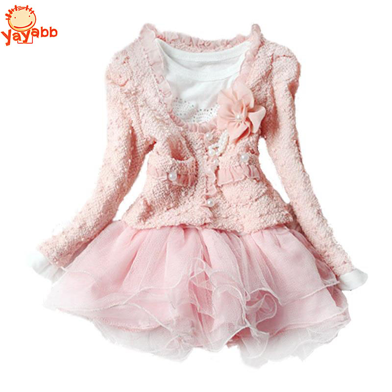 Autumn Winter Lolita Girl Dress Floral Children`s Dress Kids Dresses For Girls 2Pc/set Coat+Dress Toddler Girl Clothing(China (Mainland))