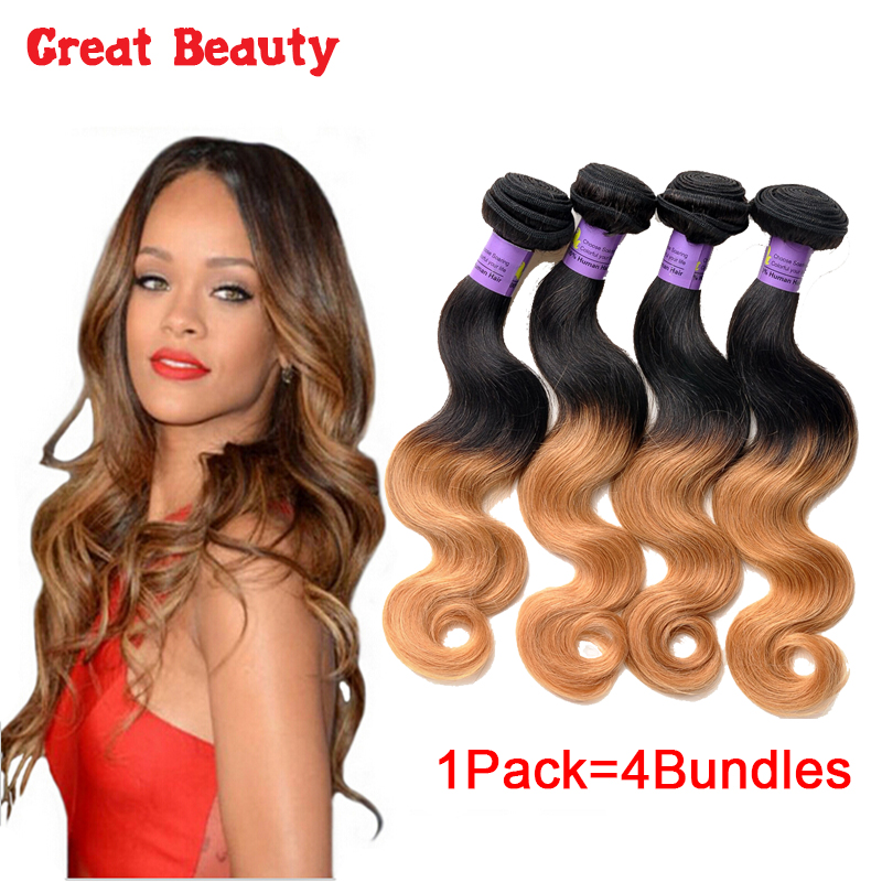 4 Bundles Peruvian Body Wave Ombre Hair Extensions 1B/27 Body Wave Hair 10-30Inch Unprocessed Human Hair Weave Cheveux Tissage<br><br>Aliexpress