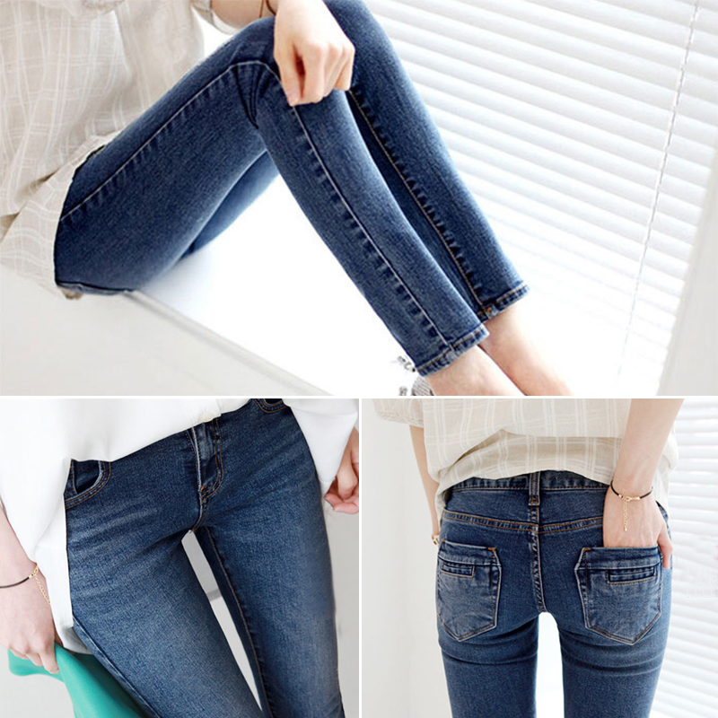 2015 autumn and winter new Korean female elastic thin Jeans Girls Jeans slim pencil pants pants tide