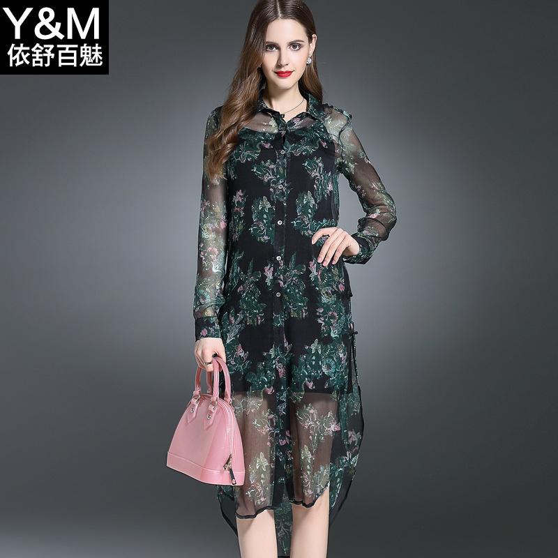 2016 European spring new high-end  silk printed pure silk dress sexy women's clothing