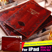Luxury Retro Ancient Vintage Old Flip Book Style PU Leather Case Smart Cover For iPad Air / air2/ Pro/ 2 3 4/ Mini 1 2 Retina(China (Mainland))