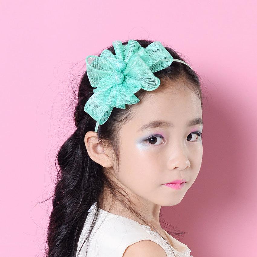 Lovely Girl Handmade Sinamay Headband Fascinators Kids Flower Pretty Headpiece Red pink green(China (Mainland))
