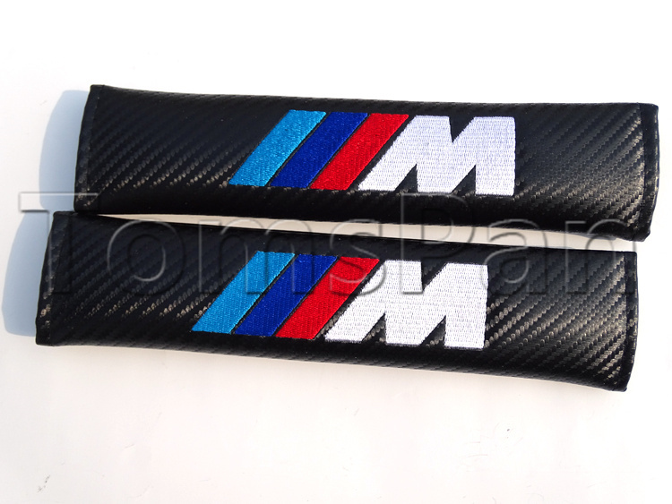 High quality 2pcs/lot universal ///M carbon fiber soft car styling safely seat belt shoulder pad cover for bmw free shipping(China (Mainland))