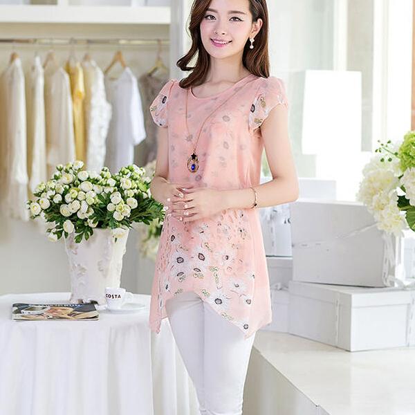 Elegant Women Floral Print Long Tops Asymmetric Hem Chiffon Blouse Tee ShirtОдежда и ак�е��уары<br><br><br>Aliexpress