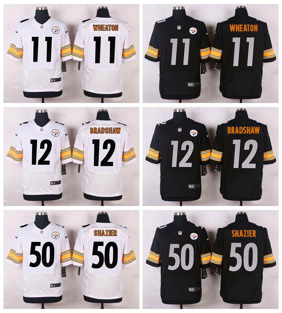 High quality,Pittsburgh steeler,#11 Markus Wheaton #12 Terry Bradshaw #50 Ryan Shazier Elite(China (Mainland))