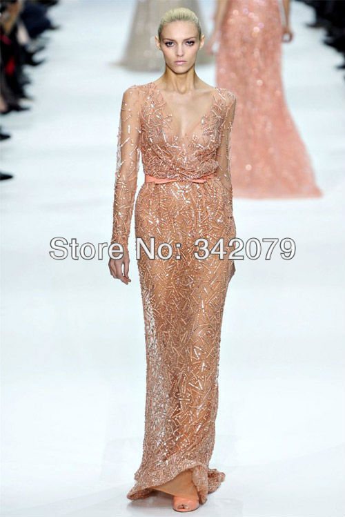 ph08374 Elie Saab haute couture a deep V-neckline long sleeve floor length dress evening dress 2013 new arrival with sleeves(China (Mainland))