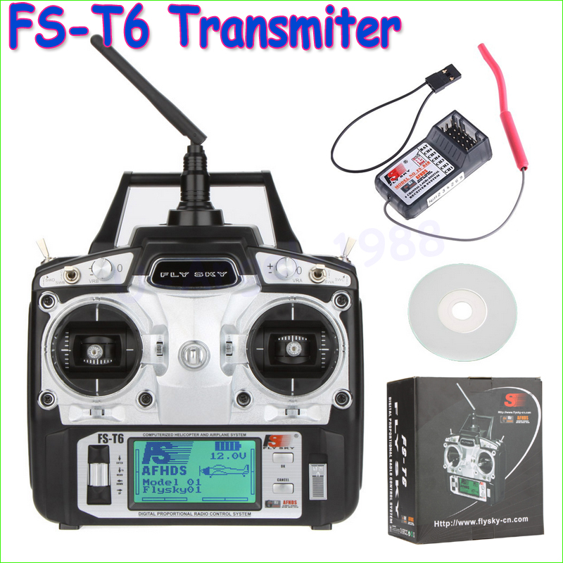 1pcs Original Flysky FS-T6 FS T6 6ch 2.4g w/ LCD Screen Transmitter + FS R6B Receiver RC Quadcopter Helicopter With LED Screen(China (Mainland))