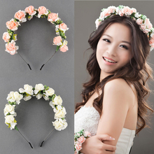 Fashion Stylish Hot Sale Flower Garland Floral Bridal Headband Hairband Wedding Prom flower headband Hair Accessories for gift