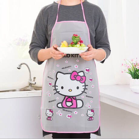 68*47cm PVC Hello Kitty Kitchen Tool Korean Lovely Cartoon Women and Lady Kitchen Sleeved Apron,3 colors and styles to choose.(China (Mainland))