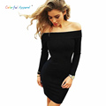 Colorful Apparel women s Slash Neck Autumn Dress 2016 long sleeved Elegant Women Bodycon Sexy Dresses