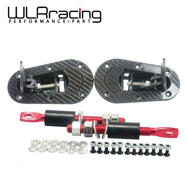 WLR STORE- D1 New Universal Racing Lock Plus Flush Hood Latch Pin Kit, Carbon Fiber, JDM style without key(China (Mainland))