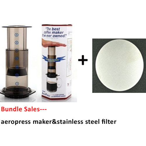 Bundle - 2items: AeroPress Coffee Espresso Maker & Stainless Steel Disc Coffee Filter(China (Mainland))