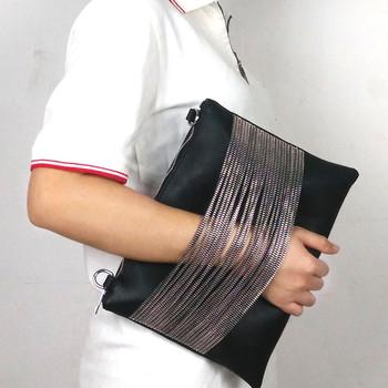 2015 100% вечер клатч женщины сумка черный кожаный цепи сумка через плечо klatch женские кошельки и сумки