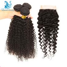 Indian Curly Virgin Hair 3 Bundles Indian Virgin Hair With Closure 7a Unprocessed Virgin Hair Raw Indian Wavy Hair and Closure