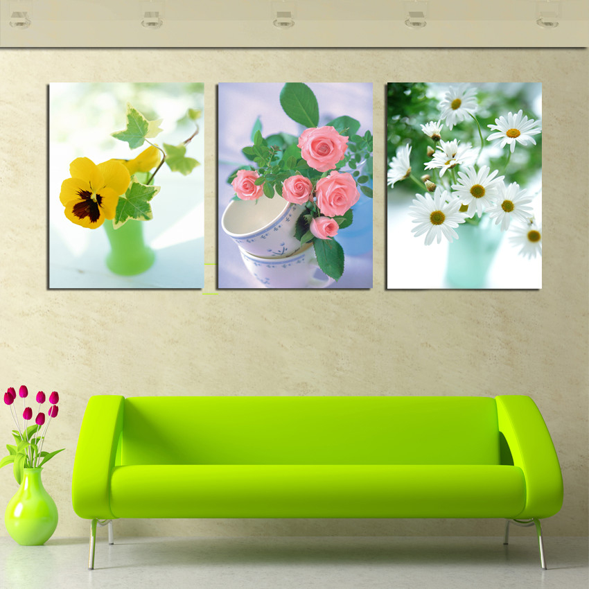Large 3 panel wall art modern decor still life canvas painting little fresh flower still life - Fresh modern decor ...