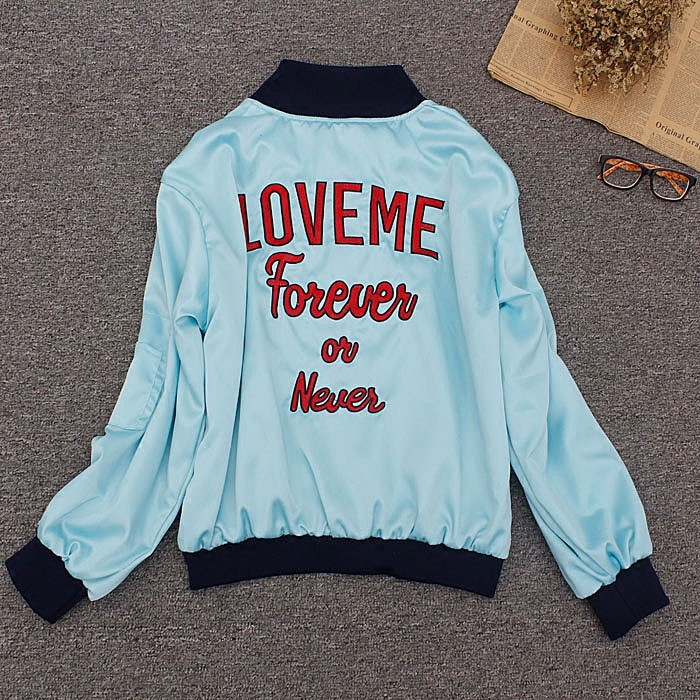 Korean Style Over Size Basic Jackets Letters Back LOVE ME FOREVER OR NEVER Harajuku Boyfriend Style bomber jacket Stain Stand
