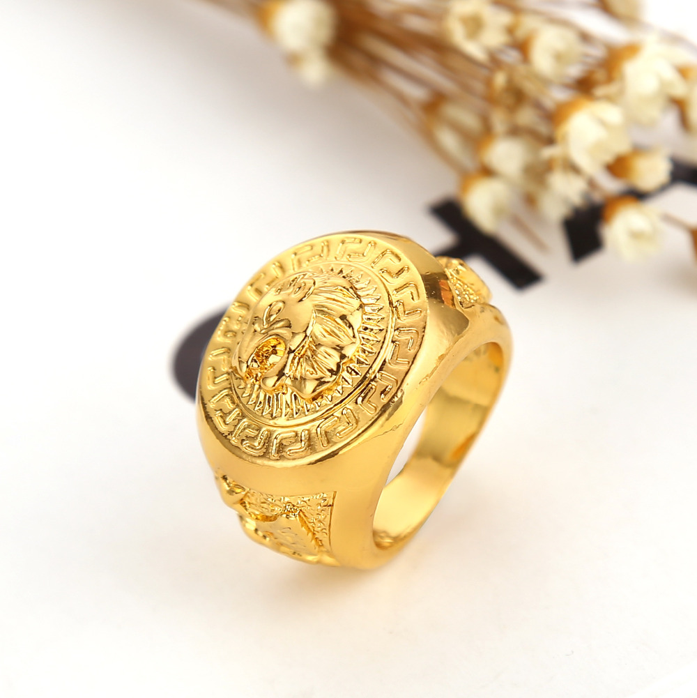 2016 watch Love New 24K Gold Plated Hip hop men Rings Lion head Shape Rings for Women Free Shipping Ring Jewelry gift(China (Mainland))