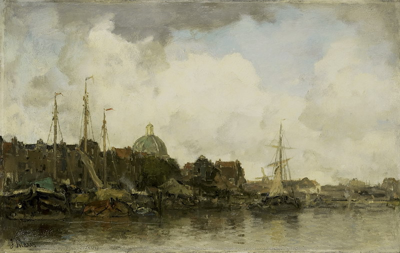 Canvas Painting Wall Art Home Decoration;Cityscape with Domed Church by Jacob Maris(China (Mainland))