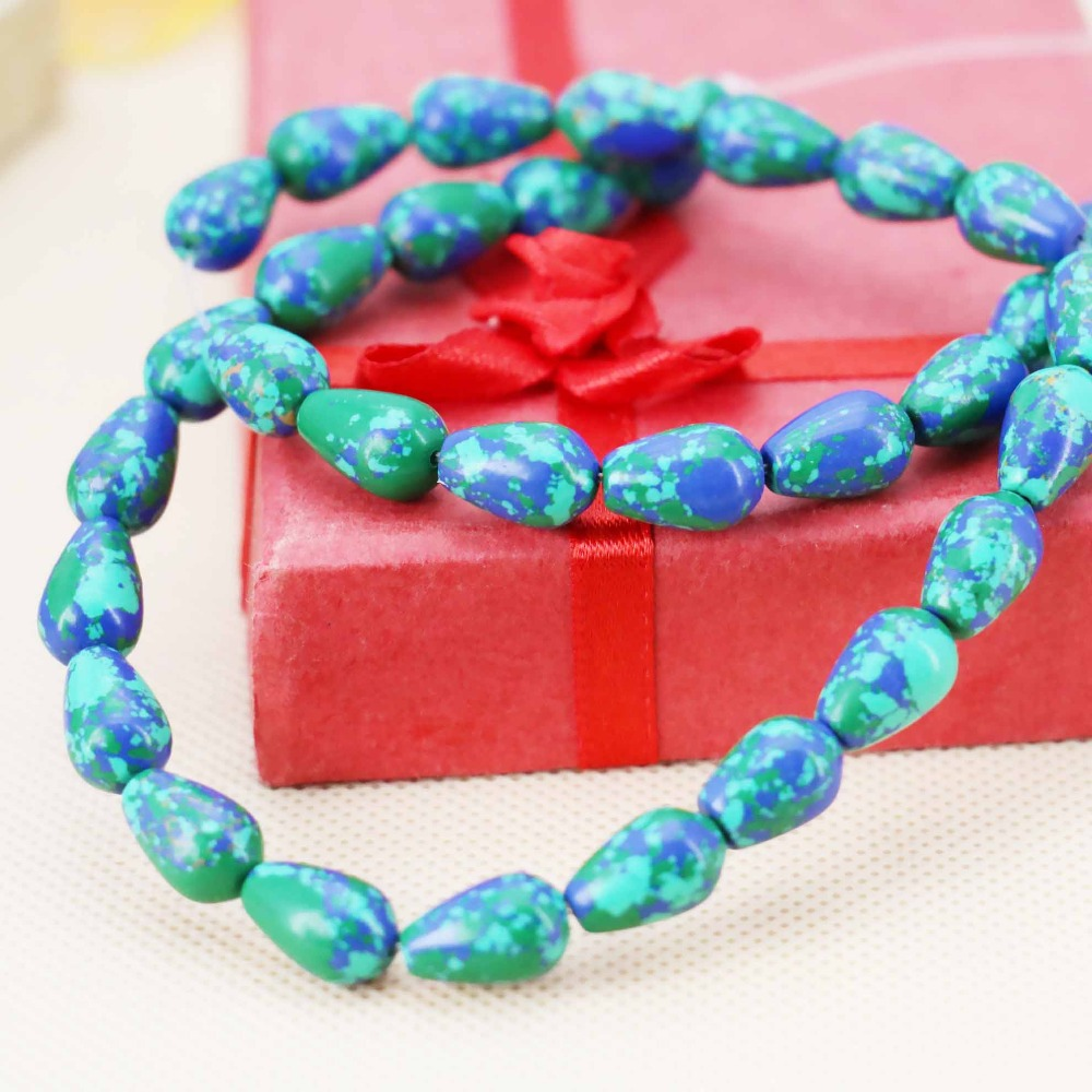 8*12mm fashion Blue Green Turquoise Drop loose DIY stones beads women Jewelry crafts making design 15inch 2pc/lot Girls Gifts(China (Mainland))