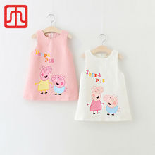 YoBetar-Summer New Arrival Cartoon Lovely Pig Girls Pattern Dress Sleeveless Pink/White Girl A-Line Dresses Casual Girl Clothes