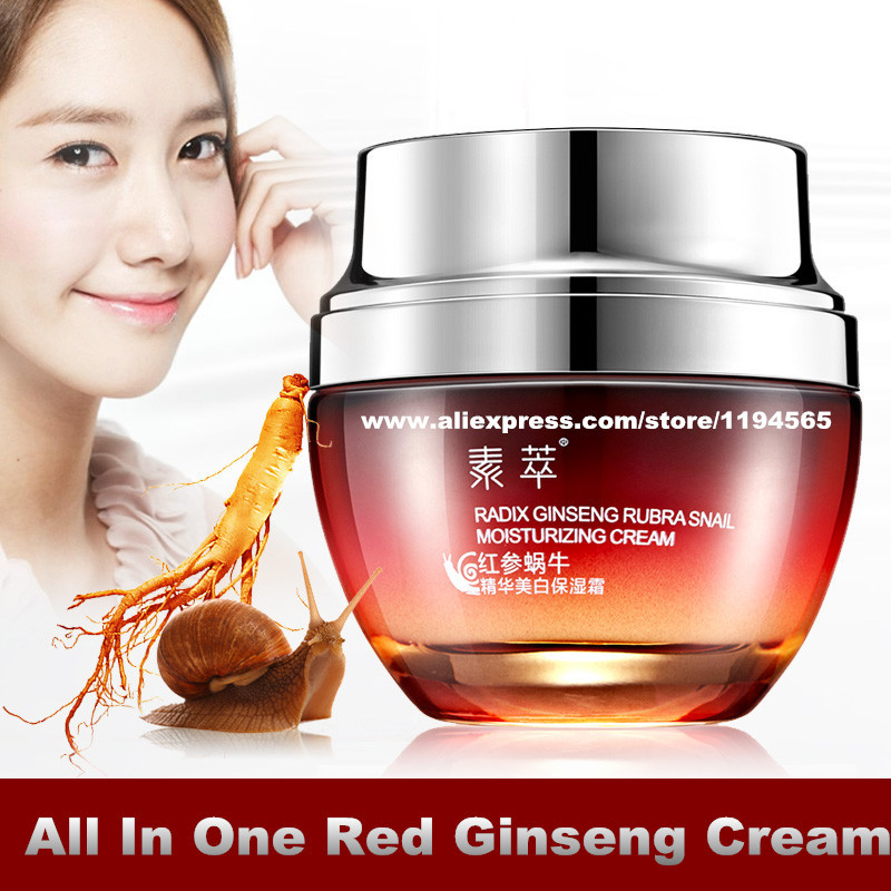 All In One Snail Repair Red Ginseng Essence Whitening Moisturizing Face Cream 50g Hydrating Skin Care Products(China (Mainland))