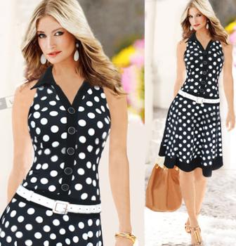 Новый летнее платье 2015 женщин мода горошек рукавов v-образным вырезом платья печать черный / белый платье женщины платья