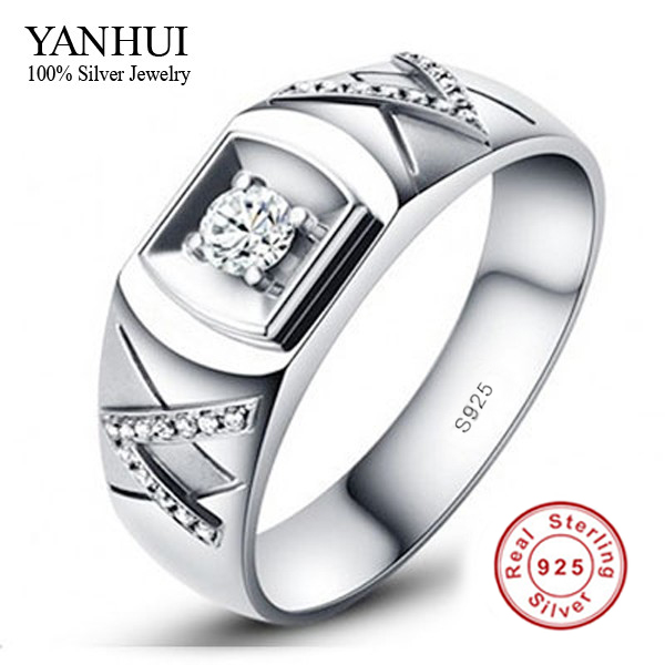 Have Certificate Guarantee!!!! Lovers 925 Sterling Silver Ring Couple 1 Carat CZ Diamant Wedding Rings For Men and Women JZR014(China (Mainland))