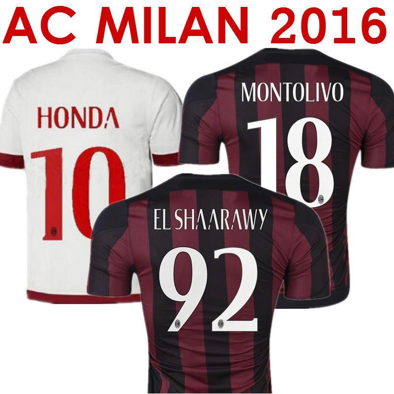 Soccer Jersey AC Milan Jersey 2016 AC Milan 15/16 El SHAARAWY MONTOLIVO HONDA Football Shirt AC Milan 2016 Home Black Away White(China (Mainland))