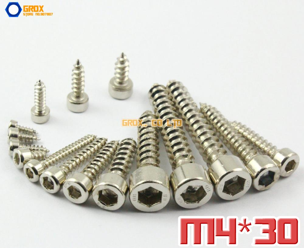 50 Pieces M4 x 30mm 8.8 Grade Alloy Steel Nickel Plated Hexagon Socket Cap Head Self Tapping Screw Model Screw<br><br>Aliexpress