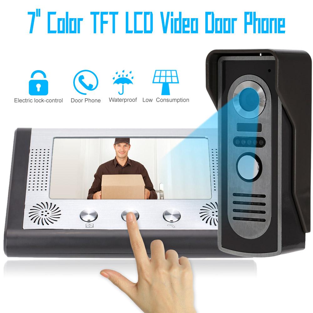 "Home Security 7"" TFT Color Video Intercom Doorbell Video Door Phone System Kit IR Camera Monitor Speakerphone Interphone(China (Mainland))"