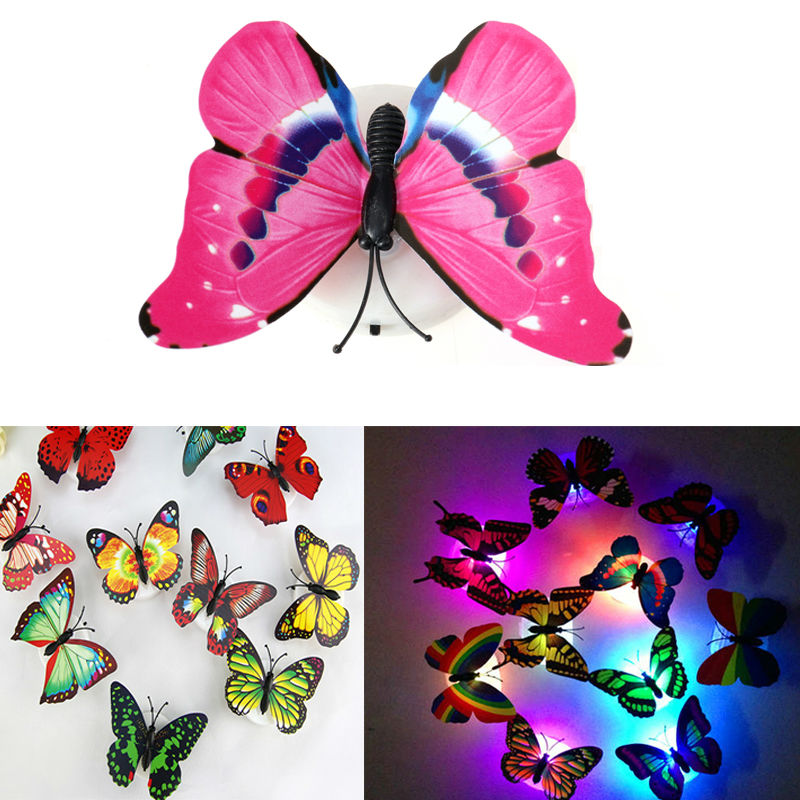 Novely Color Night Light Flashing Lamp ABS LED Butterfly Night Lamp Home Decoration Artificial Wall Nightlights(China (Mainland))