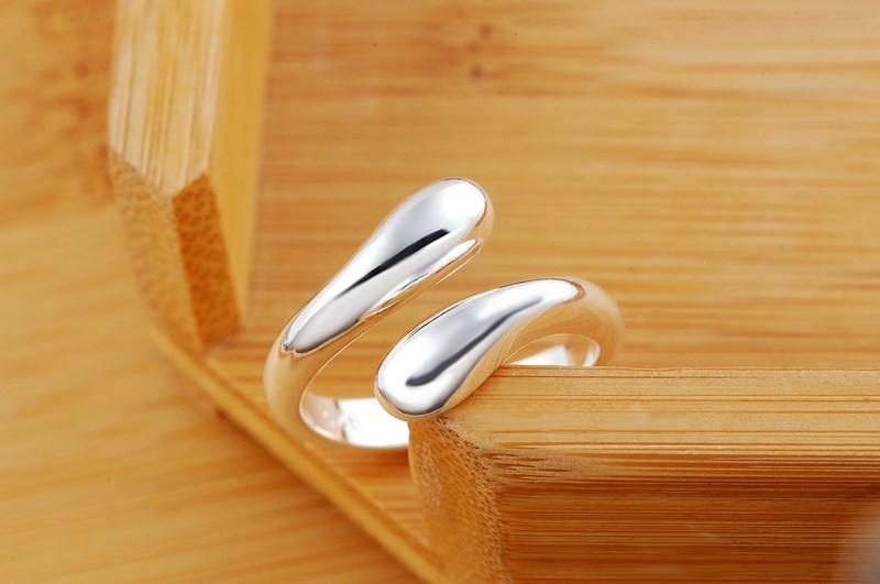 Новое Объявление посеребренная кольца ювелирных изделий способа Бесплатная доставка каплевидные wemen леди обручальное кольцо открытие