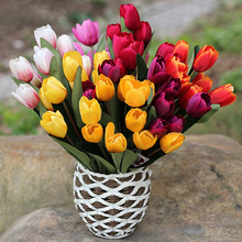 1 Bouquet 9 Heads Fake Tulip Artificial Silk Flower Home Office Wedding Decor 6YGP(China (Mainland))