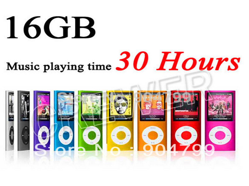 SLIM 4th GEN 16GB MP3 PLAYER PLAYING TIME 30HOURS SUPORT FM EBOOK VIDEO PHOTO MP3 9 COLORS(China (Mainland))
