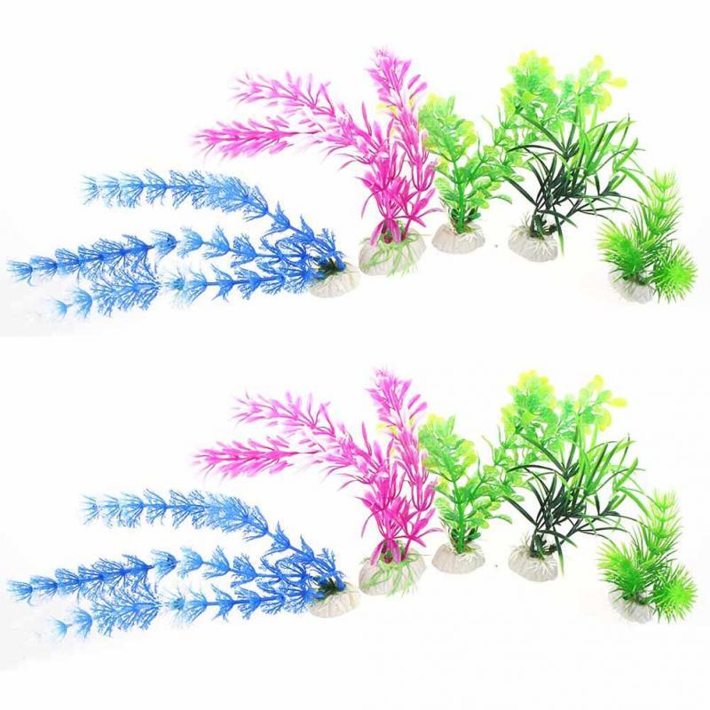 10 unids pequeña planta de agua mezclada Arificial planta de agua para Fish Tank ornamento del acuario decoración - QJ(China (Mainland))