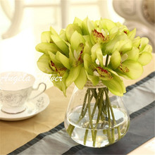 Real Touch cymbidium 6 heads Short shoot table decoration flower DIY wedding bride hand flowers home decor artificial orchid(China (Mainland))