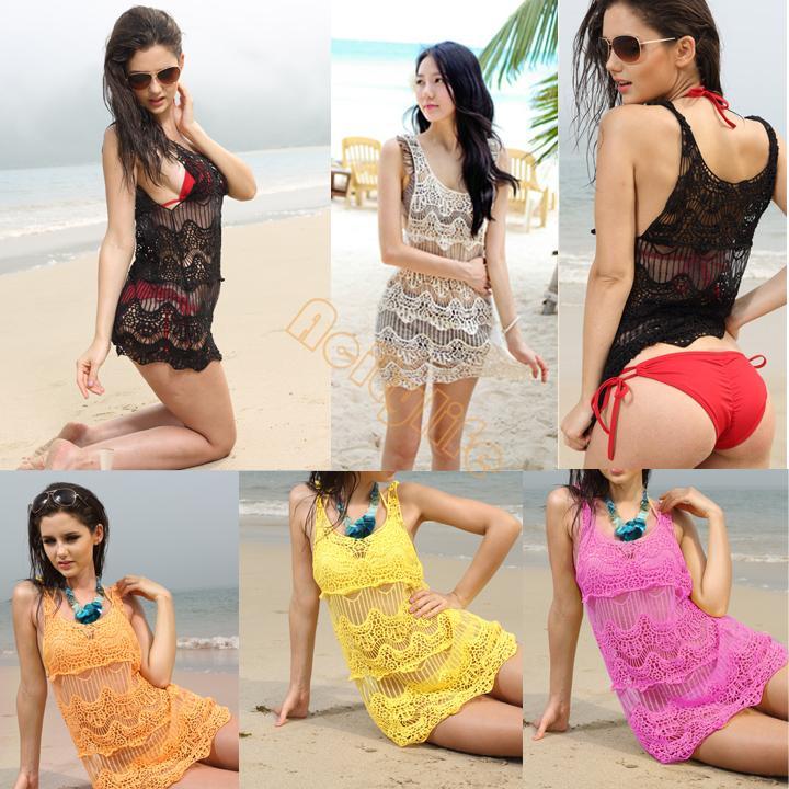 2014 Korean Women Casual Girl Knitting Round Collar Sleeveless Flower Hollow Vest Beach Dress Bikini Smock Swimwear B12 CB018771(China (Mainland))