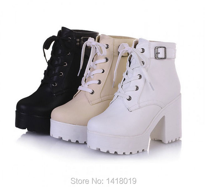 Wholesale New Hot Womens Punk Chunky Heel Platform Lace Up Buckle ...