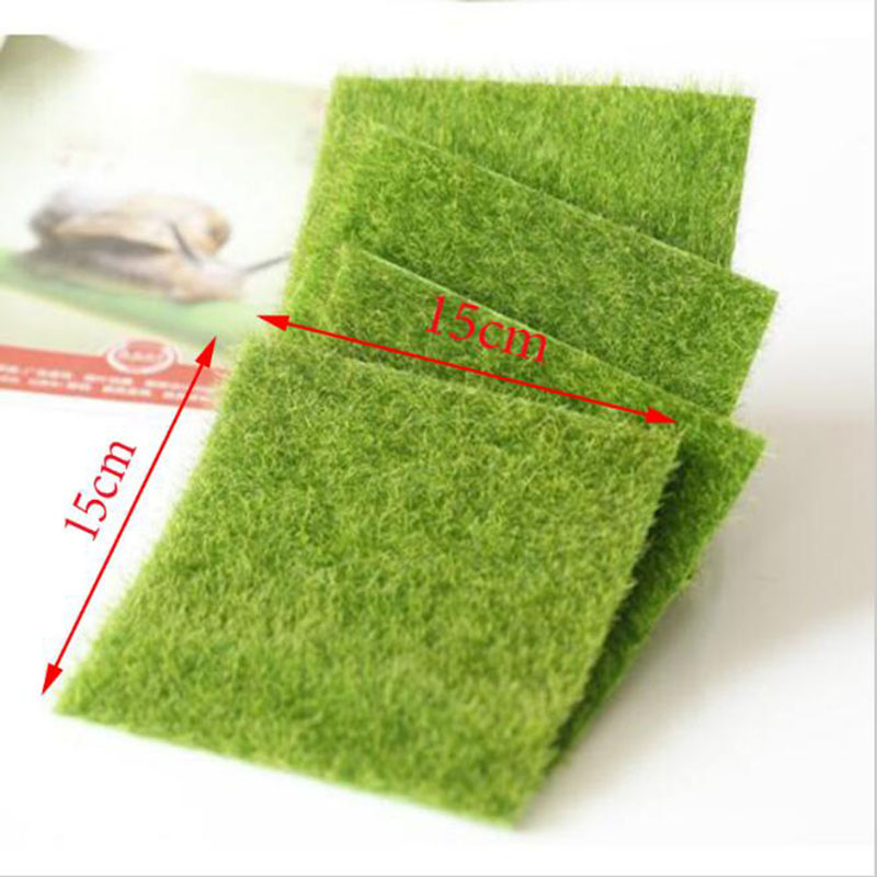 Nearly Natural Grass Mat Green Artificial Lawns 15x15cm Small Turf Carpets Fake Sod Home Garden Moss For Floor Decoration(China (Mainland))