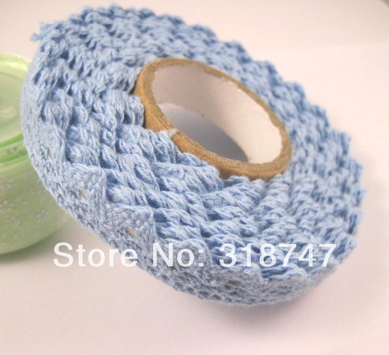 sale! 5m/roll Blue DIY cotton tape decoration 006011(China (Mainland))