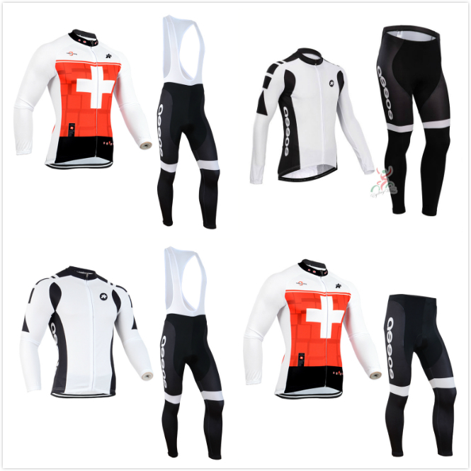 2015 Pro team swiss cycling jersey/breathable long sleeve cycling clothing/maillot ciclismo bicicleta bike jersey+bib shorts(China (Mainland))
