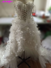 Wonderful High Low Bridal Dress Lace with Crystals Corset Back White Feather Wedding Dress Custom Made Discount(China (Mainland))