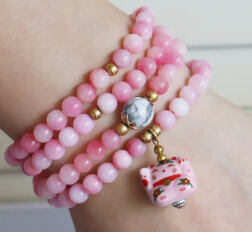 6mm Pink Chalcedony Bracelet Lucky Ceramic Cat Pendant Beads Fashion Jewelry Bracelet Multilayer Chain Necklace Natural Stone(China (Mainland))