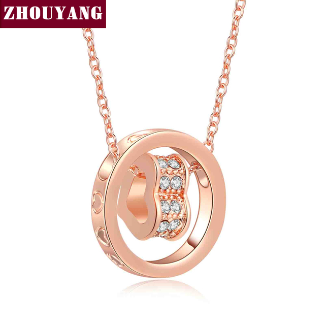 ZHOUYANG Hot Sell Heart Crystal Pendant Necklace Fashion Jewelry Rose Gold Plated Jewelry For Women Girl ZYN607 ZYN608