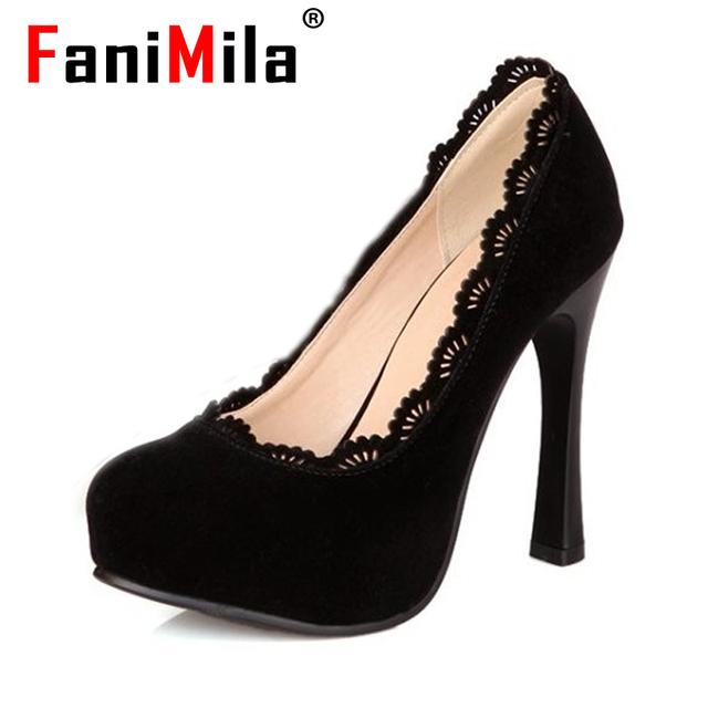 Женщины тонкие туфли на каблуках платформы острым носом марка женский мода на высоком ...