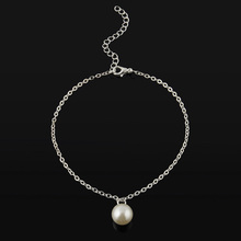 Summer Fashion Simple Pearl Barefoot Sandals Sexy Women Pearl Bead Gold Silver Ankle Chain Anklet Bracelet