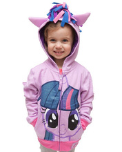 NEW 2015 My little pony girl hoodie with wings back Cartoon jacket sweatshirt for girls Spring coat with hat children clothing()