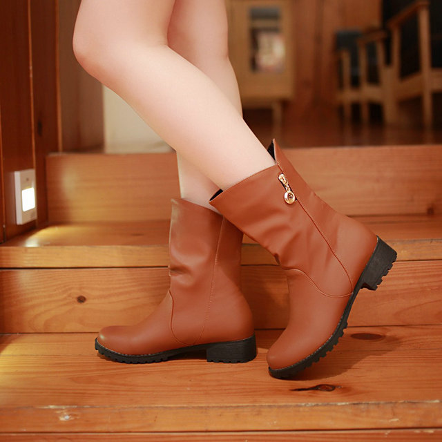 New to the ladies fashion spring and autumn cowboy mid-heels ankle western boots size 34-39<br><br>Aliexpress