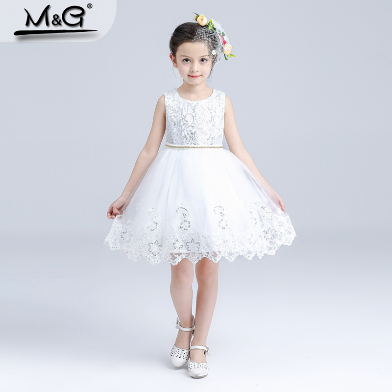 Kids dresses for girls white sequin lace bow Elsa dress girl party princess costume children snow queen Cosplay party ball gowns(China (Mainland))