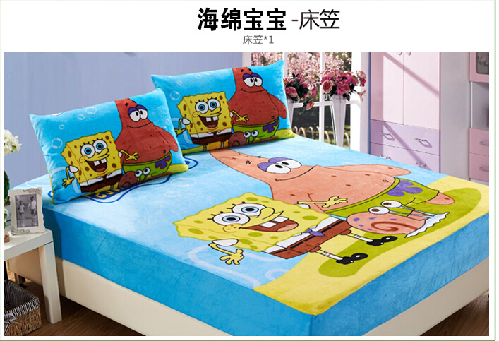 NEW KIDS winter sheet Boys cartoon flannel Spongebob fitted sheet kids bedding twin size bed textile home twin 120*200cm(China (Mainland))